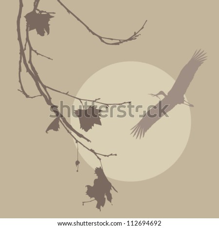 Wood Stork building the nest - stock vector