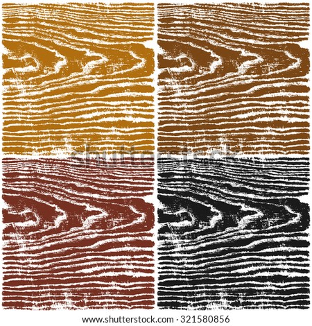 Wood texture background. Set 04 Empty natural pattern swatch template in four colors. Realistic plank with annual years circles. Backdrop size square format. Vector illustration design elements 8 eps - stock vector