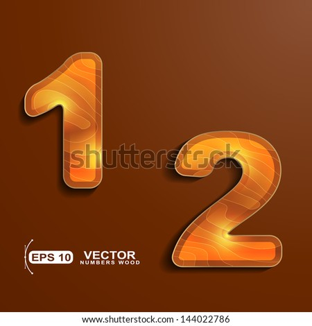 wood texture numbers 1 2 - stock vector