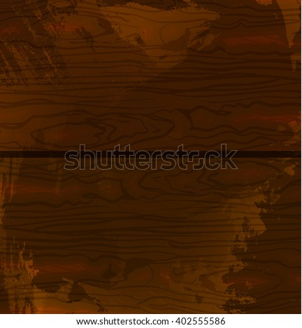 Wood texture template. Vector illustration. Brown wood. Grunge textured backdrop.  - stock vector