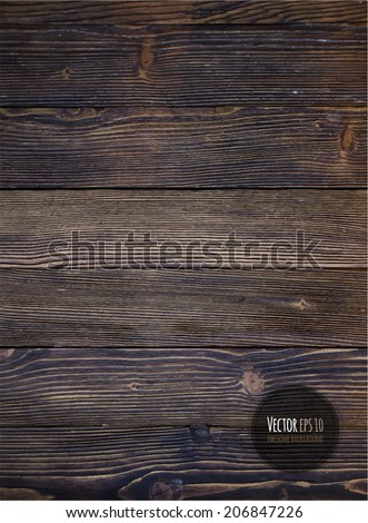 Wood texture, vector Eps10 illustration. Natural Dark Wooden Background. - stock vector