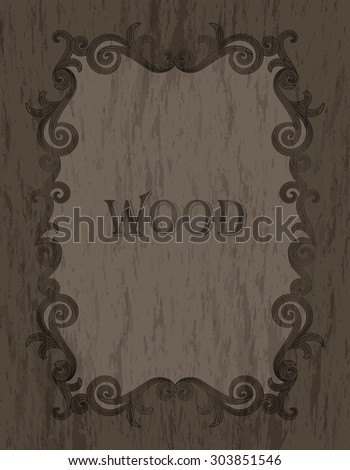 wood texture - vintage dark brown color vignette border on a cold brown wood background - stock vector