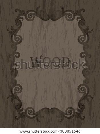 wood texture - vintage dark brown color vignette border on a cold brown wood background - stock vector