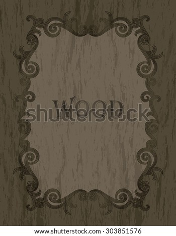 wood texture - vintage dark brown color vignette border on a gray & brown wood background - stock vector