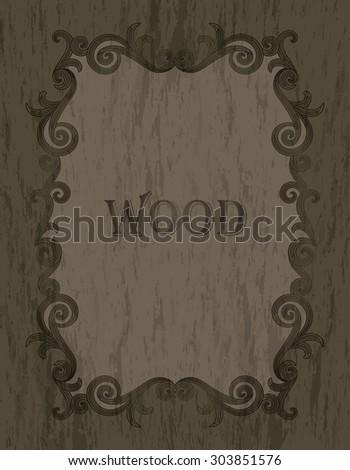 wood texture - vintage dark brown color vignette border on a gray & brown wood background - stock vector