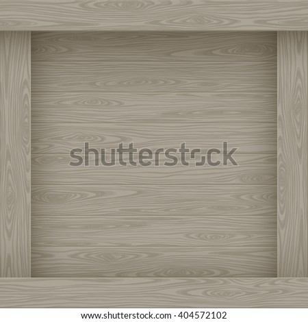 Wood vector illustration. Natural graphic texture pattern. border place for text message. Squre frame board design. - stock vector