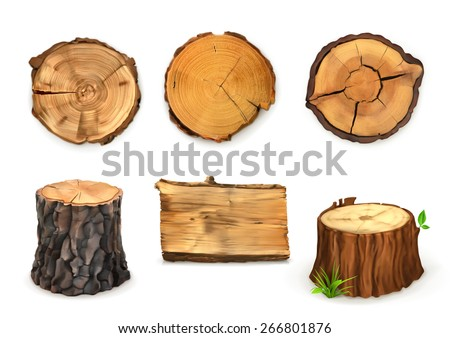 Wood, vector set banners and signs - stock vector