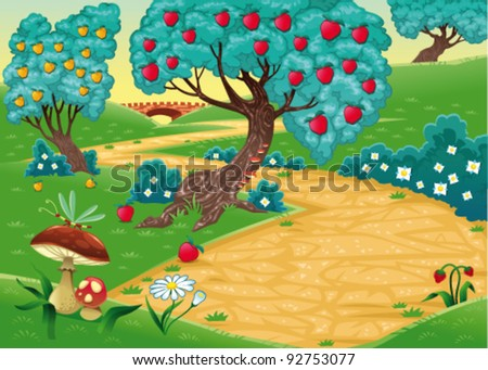Wood with fruit trees. Funny cartoon and vector illustration - stock vector