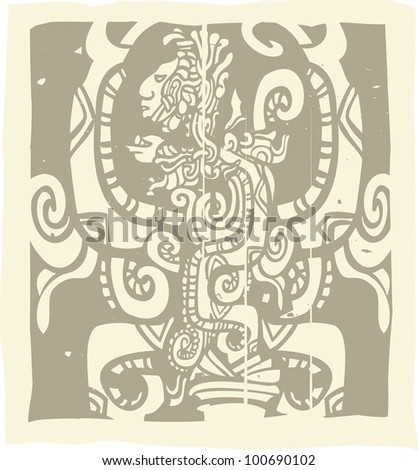 Woodblock style Mayan image with Vision Serpent - stock vector