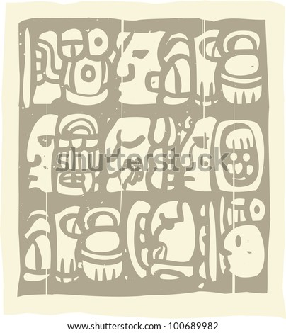 Woodblock style Mayan language in writing glyphs - stock vector