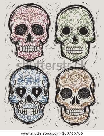 Woodcut Day of the Dead Vector Illustration Set - stock vector