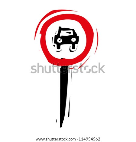 "woodcut engrave illustration of road sign ""No entry for motor vehicle"""