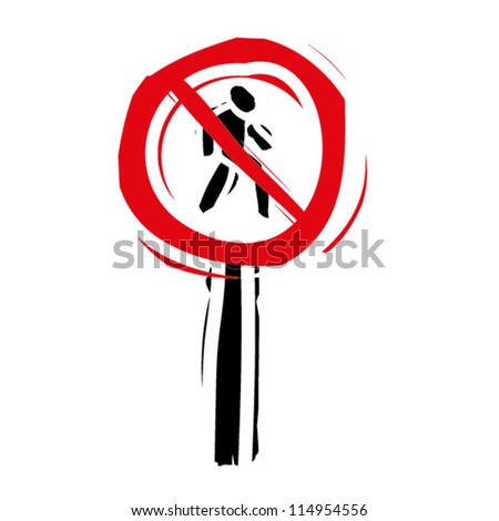 "woodcut engrave illustration of road sign ""no pedestrian"" - stock vector"