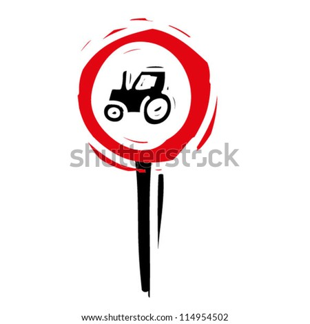 """woodcut engrave illustration of road sign """"No entry for agricultural vehicle"""" - stock vector"""