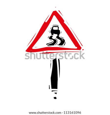 "woodcut engrave illustration of road sign ""slippery road"" - stock vector"