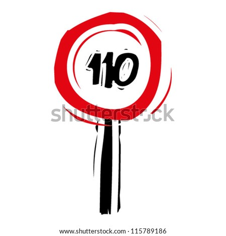 "woodcut engrave illustration of road sign ""speed limit 110"" - stock vector"