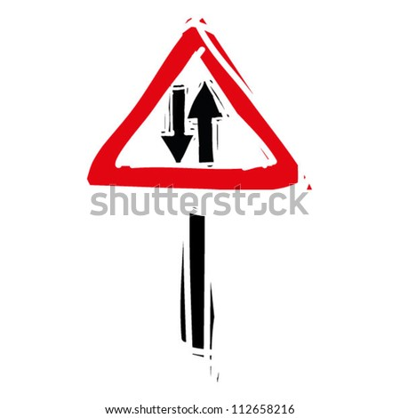 "woodcut engrave illustration of road sign ""two way road"" - stock vector"