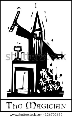 Woodcut expressionist style image of the Tarot Card for the Magician - stock vector