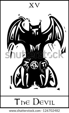 Woodcut expressionist style Tarot card for the devil - stock vector