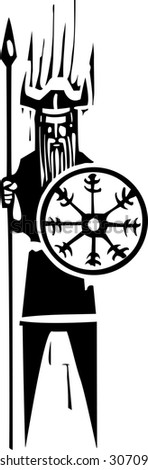 Woodcut expressionist viking holding a shield with mystic wheel on it. - stock vector
