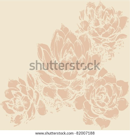 woodcut floral background - stock vector