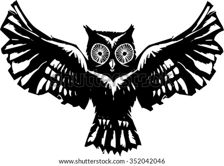 Woodcut flying owl with feathered wings spread.