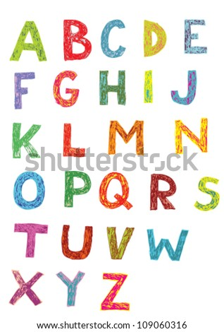 Woodcut Font: set of hand drawn capital letters (colors) - stock vector