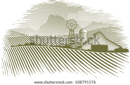 Woodcut illustration of a barn and field. - stock vector