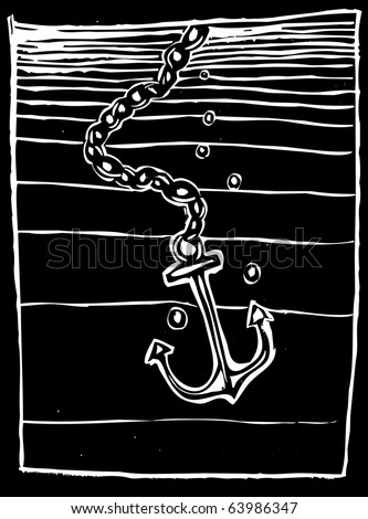 Woodcut style Anchor being dropped into a dark ocean.