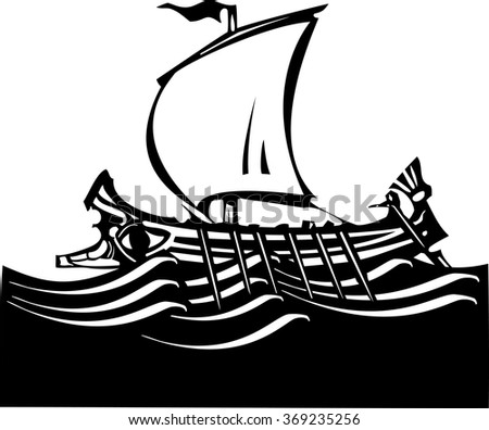 Woodcut style ancient Greek Galley with oars and sail at sea. - stock vector