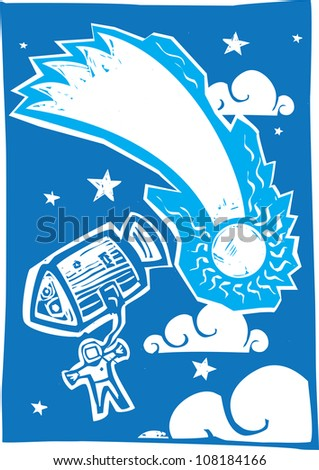 Woodcut style astronaut in space with comet.