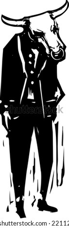 Woodcut style business image of a Minotaur in a business suit. - stock vector