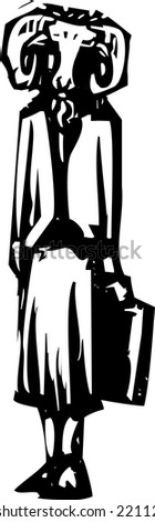 Woodcut style business image of a woman with a ram or goat's head. - stock vector