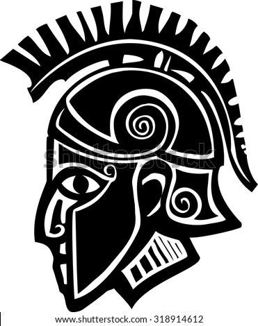 Woodcut style classical spartan Grecian soldier in a bronze helmet - stock vector
