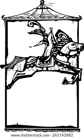 Woodcut style expressionist image of a Circus performer riding a horse. - stock vector