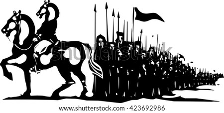 Woodcut style expressionist image of a horse headed general leading an army. - stock vector