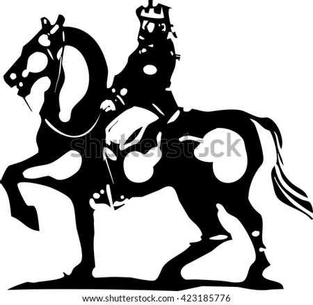 Woodcut style expressionist image of a king mounted on horseback.