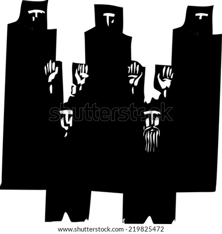 Woodcut style expressionist image of a men raising their hands in surrender watched by people in dark robes. - stock vector
