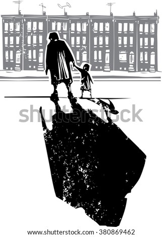 Woodcut style expressionist image of an elderly woman walking in hand with a child in front of row homes - stock vector