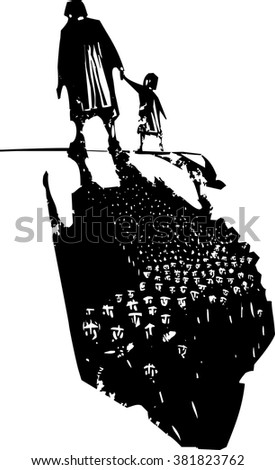 Woodcut style expressionist image of an elderly woman walking in hand with a child trailing refugees in their shadows. - stock vector