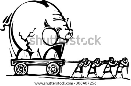 Woodcut style expressionist image of people of people dragging a piggy bank. - stock vector
