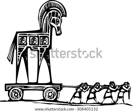 Woodcut style expressionist image of the Greek Trojan Horse being dragged into Troy. - stock vector