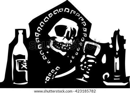Woodcut style expressionist image skeleton of death having a drink.