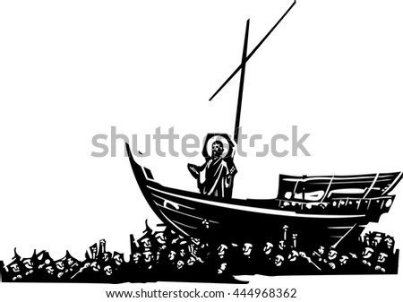 Woodcut style expressionist images of Christ on a boat carried ina sea of mankind