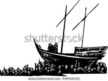 Woodcut style expressionist images of  Three men on an arabic dhow carried by a crowd of refugees - stock vector