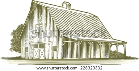 Woodcut-style illustration of a barn. - stock vector