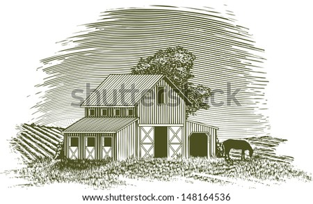 Woodcut-style illustration of a barn with a horse grazing nearby. - stock vector