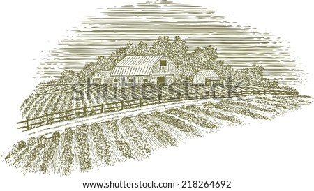 Woodcut-style illustration of a country road passing by a barn and fields. - stock vector
