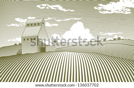 Woodcut style illustration of a grain elevator. - stock vector