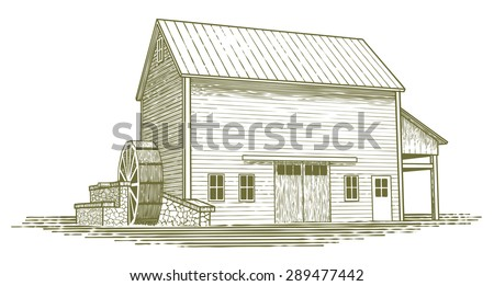 Woodcut-style illustration of an old water mill. - stock vector